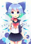 1girl :d alternate_costume aqua_hair bag blue_eyes bow cirno gradient_hair hair_bow hair_ornament hair_ribbon holding looking_at_viewer multicolored_hair open_mouth pleated_skirt popsicle ribbon school_bag school_uniform serafuku short_hair skirt smile solo tagme touhou translation_request uta_(kuroneko) watermelon_bar wings