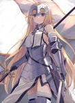 1girl armor armored_dress bare_shoulders blonde_hair blue_eyes braid breasts capelet chain fate/apocrypha fate/grand_order fate_(series) faulds flag fur_trim gauntlets headpiece highres holding holding_sword holding_weapon jeanne_d'arc_(fate) jeanne_d'arc_(fate)_(all) kou_v05first large_breasts long_hair solo sword very_long_hair weapon yellow_eyes