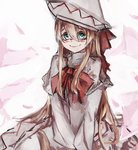 1girl aqua_eyes bags_under_eyes blonde_hair blush bow bowtie capelet closed_mouth commentary_request cowboy_shot dress hair_between_eyes hat hat_bow higasa_rin highres lily_white long_hair long_sleeves looking_at_viewer pink_background red_bow red_neckwear sanpaku sketch sleeves_past_fingers sleeves_past_wrists smile solo touhou v_arms very_long_hair white_capelet white_dress white_headwear