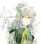 1girl bangs eyebrows_visible_through_hair flower green_eyes hair_between_eyes kamura_gimi long_hair long_sleeves open_mouth original simple_background sleeves_past_fingers sleeves_past_wrists solo upper_body white_background white_flower white_hair wide_sleeves