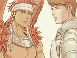 2boys armor brown_eyes brown_wings canopus_wolph chest facial_hair feathered_wings headband male_focus mildain_walhorn multiple_boys red_hair shirtless standing stubble tactics_ogre upper_body white_headband windcaller wings