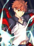 1boy brown_eyes brown_hair collarbone emiya_shirou eyebrows_visible_through_hair fate/stay_night fate_(series) hair_between_eyes jacket long_sleeves looking_at_viewer male_focus midriff nikame open_clothes open_jacket outstretched_arm parted_lips shirt solo spiked_hair stomach upper_body white_shirt