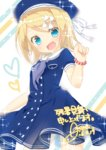 1girl amane_(amnk1213) beret blonde_hair blue_dress blue_eyes bracelet buttons dated dress fang flat_chest hair_ribbon hat jewelry kagamine_rin open_mouth petite ribbon sailor_collar sailor_dress short_sleeves signature smile solo sparkle vocaloid