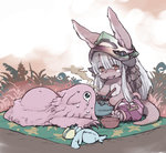 1girl :3 animal_ears blue_eyes bowl brown_eyes commentary creature crying crying_with_eyes_open eyebrows_visible_through_hair fangs food full_body furry hair_between_eyes helmet horizontal_pupils horns long_hair lying made_in_abyss mat mitty_(made_in_abyss) nanachi_(made_in_abyss) on_stomach open_mouth pants pot sitting steam tail takeda_sun tears very_long_hair white_hair