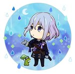 1boy chibi crescent_moon frog honebami_toushirou leaf male_focus military military_uniform moon necktie nomuo_(shiromi) purple_eyes rain sword touken_ranbu uniform wakizashi weapon white_hair
