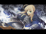 1girl ahoge armor blonde_hair fate/stay_night fate_(series) gauntlets green_eyes highres letterboxed long_sleeves looking_at_viewer saber satomi solo sword weapon