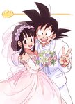 1boy 1girl :d bare_shoulders black_eyes black_hair bouquet bow bowtie chi-chi_(dragon_ball) commentary_request couple dragon_ball dragon_ball_(classic) dress elbow_gloves eyelashes fingernails flower flying_nimbus formal gloves happy hetero highres holding jewelry looking_at_viewer necklace open_mouth pearl_necklace pink_dress pink_flower purple_flower rose short_hair simple_background sleeveless sleeveless_dress smile son_gokuu spiked_hair suit tied_hair tkgsize v veil wedding_dress white_background white_flower white_rose white_suit