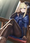 1girl bangs blonde_hair blunt_bangs boots chair coat commentary crossed_legs cuboon eyebrows_visible_through_hair fate/grand_order fate_(series) feet_out_of_frame flower gloves green_eyes hand_on_own_cheek hat hat_flower long_hair long_sleeves looking_at_viewer lord_el-melloi_ii_case_files pantyhose reines_el-melloi_archisorte scarf shawl sidelocks sitting skirt smile smirk solo teeth twitter_username