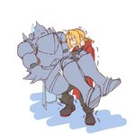 2boys alphonse_elric antenna_hair armor blonde_hair boots braid brothers carrying coat edward_elric full_armor full_body fullmetal_alchemist gloves male_focus multiple_boys princess_carry red_coat siblings simple_background standing sweat sweatdrop tabixneko trembling white_background yellow_eyes