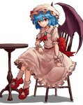 1girl absurdres ascot bangs blue_hair bow brooch chair closed_mouth demon_wings dress eyebrows_visible_through_hair hair_between_eyes hat highres jewelry looking_at_viewer mary_janes mob_cap nob1109 orange_eyes puffy_short_sleeves puffy_sleeves purple_wings red_bow red_footwear red_neckwear remilia_scarlet shadow shoes short_hair short_sleeves simple_background sitting slit_pupils smile socks solo touhou white_background white_dress white_hat white_legwear wings wrist_cuffs