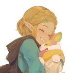 1girl blonde_hair braid cape closed_eyes dog fingerless_gloves gen_8_pokemon gloves hair_ornament hug pokemon pokemon_(creature) princess_zelda short_hair simple_background smile the_legend_of_zelda the_legend_of_zelda:_breath_of_the_wild the_legend_of_zelda:_breath_of_the_wild_2 xiaociiao yamper