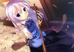 1girl bamboo_broom bangs black_skirt blue_bow blue_eyes blue_hair blue_vest blurry blurry_foreground blush bow broom chinomaron collared_shirt commentary_request day depth_of_field dress_shirt eyebrows_visible_through_hair flower gochuumon_wa_usagi_desu_ka? hair_between_eyes hair_ornament hand_up holding holding_broom kafuu_chino leaf long_hair looking_at_viewer outdoors parted_lips pink_flower rabbit_house_uniform shirt sign signature skirt solo standing twitter_username uniform very_long_hair vest waitress white_shirt x_hair_ornament