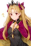 1girl ? bangs black_cola black_collar black_dress blonde_hair blush bow breasts cape closed_mouth collar collarbone detached_collar dress earrings ereshkigal_(fate/grand_order) eyebrows_visible_through_hair fate/grand_order fate_(series) hair_bow highres infinity jewelry long_hair looking_at_viewer medium_breasts parted_bangs purple_bow purple_cape red_eyes simple_background skull solo spine tiara two_side_up upper_body very_long_hair white_background