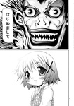 1boy 1girl comic death_note hair_ornament hairclip hidamari_sketch highres monochrome ryuk school_uniform translated yoshitani_motoka yuno
