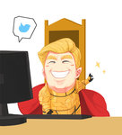 1boy ^_^ armor blonde_hair cape closed_eyes commentary computer cosplay donald_trump emperor_of_mankind emperor_of_mankind_(cosplay) grin ok_sign real_life sima_naoteng smile twitter twitter_logo warhammer_40k