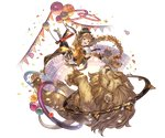 1girl animal ball bangs blonde_hair boots braid breasts carmelina_(granblue_fantasy) confetti detached_sleeves draph epaulettes full_body gloves granblue_fantasy green_eyes hair_ornament hat high_heel_boots high_heels horns jacket large_breasts lion long_hair long_sleeves looking_at_viewer minaba_hideo open_clothes open_jacket open_mouth pointy_ears sidelocks smile tail transparent_background trapeze underboob very_long_hair