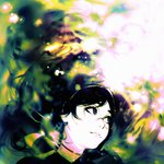 1girl afloat black_hair blue_eyes choker closed_mouth face floating_hair glasses ilya_kuvshinov long_hair looking_to_the_side original solo water