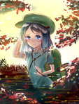 1girl autumn_leaves backpack bag black_hair blue_eyes hair_bobbles hair_ornament hat kawashiro_nitori leaf looking_at_viewer partially_submerged plant sad_smile shirt short_hair short_sleeves solo tears touhou water