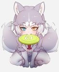 1girl afterimage animal_ear_fluff animal_ears between_legs blue_eyes boots dog_(mixed_breed)_(kemono_friends) dog_ears dog_tail elbow_gloves eyebrows_visible_through_hair fang frisbee fur_trim gloves grey_hair hand_between_legs harness heterochromia jacket japari_symbol kemono_friends multicolored_hair nyifu pantyhose pleated_skirt short_hair short_sleeves skirt solo squatting tail tail_wagging white_hair yellow_eyes