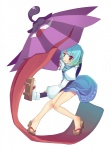 1girl :p arashiya geta green_eyes green_hair heterochromia karakasa_obake red_eyes solo tatara_kogasa tongue tongue_out touhou umbrella