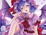 1girl absurdres ama-tou ascot bat_wings bloomers blue_hair bow brooch closed_eyes dress flower full_moon hat hat_ribbon highres jewelry moon nail_polish pink_dress red_eyes remilia_scarlet ribbon rose sash short_sleeves smile solo touhou underwear white_flower white_rose wings