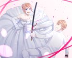 1boy 1girl :d blonde_hair blue_eyes breasts bridal_veil cleavage collarbone dress elbow_gloves eye_contact formal gintama gloves grin highres holding holding_sword holding_umbrella holding_weapon jacket kagura_(gintama) katana long_dress long_sleeves looking_at_another medium_breasts okita_sougo open_mouth pants petals red_eyes red_ribbon ribbon sheath sheathed short_hair sleeveless sleeveless_dress smile strapless strapless_dress sword umbrella veil weapon wedding_dress white_background white_dress white_gloves white_jacket white_pants yayoi_(chepiiii23)