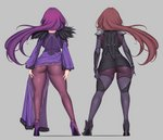 2girls ass ass_tattoo aster_crowley back black_ribbon bodysuit breasts command_spell dress facing_away fate/grand_order fate_(series) full_body fur-trimmed_dress grey_background hair_ribbon high_heels highres large_breasts legs long_hair long_sleeves multiple_girls pantyhose pauldrons purple_bodysuit purple_dress purple_footwear purple_hair purple_legwear ribbon scathach_(fate)_(all) scathach_(fate/grand_order) scathach_skadi_(fate/grand_order) simple_background thighs tiara