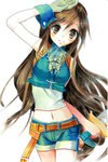 1girl black_hair blush breasts brown_eyes denim denim_shorts final_fantasy final_fantasy_ix garnet_til_alexandros_xvii gloves long_hair looking_at_viewer low-tied_long_hair midriff navel okotoburi short_hair shorts smile solo zidane_tribal_(cosplay)