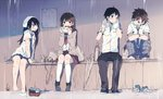 2boys 2girls bag bangs barefoot black_hair black_pants blue_footwear blue_neckwear blue_pants blue_skirt blush brown_hair camera cardigan clenched_teeth collared_shirt crossed_arms drying earbuds earphones eating food frown highres holding holding_food knees_up long_hair long_sleeves looking_at_another miniskirt multiple_boys multiple_girls neckerchief necktie original pants plaid plaid_pants pleated_skirt rain red_neckwear school_bag school_uniform serafuku shirt shoes_removed shopping_bag short_sleeves single_earphone_removed sitting skirt socks_removed taneda_yuuta teeth thermos towel towel_around_neck towel_on_head umbrella watch wet wet_clothes wet_shirt wristwatch