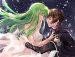 1boy 1girl black_cape breasts c.c. cape cleavage code_geass collarbone dress eye_contact floating_hair from_side green_hair hand_on_another's_cheek hand_on_another's_face lelouch_lamperouge long_hair long_sleeves looking_at_another medium_breasts petals profile purple_eyes shiny shiny_skin sleeveless sleeveless_dress snfskn striped striped_dress very_long_hair wedding_dress white_dress yellow_eyes