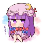 1girl :o bangs barefoot blue_bow blush bow chibi commentary_request crescent crescent_moon_pin dress eyebrows_visible_through_hair full_body hair_bow hana_kazari hat jitome long_hair long_sleeves looking_at_viewer mob_cap mukyuu parted_lips patchouli_knowledge pink_dress pink_hat purple_eyes purple_hair red_bow sleeves_past_fingers sleeves_past_wrists solo striped touhou translation_request vertical_stripes very_long_hair