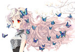 1girl branch butterfly choker floating_hair flower gradient_hair long_hair mintchoco_(orange_shabette) multicolored_hair original parted_lips pink_hair red_eyes ribbon_choker silver_hair solo too_many very_long_hair