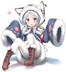 1girl :3 :d absurdres animal_ears animal_hood animal_print armband azur_lane bangs blue_coat blush boots brown_footwear changchun_(azur_lane) commentary_request cross-laced_footwear eyebrows_visible_through_hair full_body fur-trimmed_boots fur-trimmed_sleeves fur_trim hair_ornament highres hood hood_up hooded_capelet lace-up_boots long_hair long_sleeves looking_at_viewer nedia_(nedia_region) open_mouth pantyhose parted_bangs purple_eyes red_eyes sidelocks silver_hair sitting sleeves_past_fingers sleeves_past_wrists smile solo tiger_ears tiger_hood tiger_print very_long_hair white_background white_legwear wide_sleeves