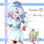 2girls alternate_costume bad_id bad_pixiv_id blue_eyes blue_hair blush bow box cirno daiyousei fairy_wings fang green_hair hair_bow hat ice ice_wings kuromame_(8gou) looking_at_viewer multiple_girls nurse nurse_cap one_eye_closed open_mouth puffy_sleeves short_sleeves side_ponytail smile syringe touhou wings |_|