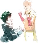 2boys bald belt_pouch black_belt blush boku_no_hero_academia cape closed_eyes crossover ears freckles gloves gradient green_hair highres holding holding_pencil male_focus midoriya_izuku multiple_boys notebook one-punch_man open_mouth pencil red_gloves rtil saitama_(one-punch_man) simple_background spiked_hair upper_body white_background white_gloves writing zipper zipper_pull_tab