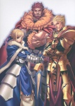 1girl 2boys absurdres ahoge armor artoria_pendragon_(all) avalon_(fate/stay_night) blonde_hair blue_cape blue_eyes cape excalibur fate/zero fate_(series) gilgamesh highres huge_filesize itou_ben multiple_boys red_hair rider_(fate/zero) saber scan sheath sheathed sword weapon