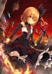 1girl alternate_costume black_dress black_footwear black_ribbon blonde_hair blurry blurry_background boots bow bowtie breasts castle commentary_request crystal detached_sleeves dress dutch_angle fire flandre_scarlet floating_hair floating_island flower hair_between_eyes hair_ribbon laevatein long_hair one_side_up outdoors red_eyes red_neckwear red_ribbon red_sky renka_(cloudsaikou) ribbon rose sky small_breasts solo thigh_boots thighhighs touhou wings