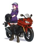 1girl airisubaka bangs black_gloves black_legwear boots breasts brown_footwear collarbone commentary eyebrows_visible_through_hair fingerless_gloves full_body gloves ground_vehicle hat helmet highres jacket jewelry leah_(airisubaka) long_hair looking_at_viewer medium_breasts motor_vehicle motorcycle motorcycle_helmet necklace original purple_hair purple_jacket short_shorts shorts simple_background smile solo thighhighs white_background yellow_eyes