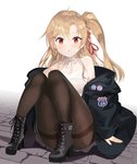 1girl absurdres azur_lane bangs bare_shoulders black_footwear blonde_hair blue_jacket boots brick_floor capelet cleveland_(azur_lane) hair_between_eyes halterneck high_heel_boots high_heels highres jacket long_hair looking_at_viewer nochan_nel off_shoulder one_side_up open_mouth pantyhose parted_bangs ponytail red_eyes red_ribbon ribbon shirt side_ponytail sitting thighband_pantyhose white_capelet white_shirt