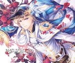1boy belt belt_pouch blonde_hair blue_ribbon buckle cape character_name copyright_name double-breasted earrings epaulettes floral_background flower fringe_trim hat hat_feather hat_ribbon jacket jewelry long_hair looking_at_viewer male_focus maplestory parted_lips petals phantom_(maplestory) pouch purple_eyes red_flower red_rose ribbon rose rose_petals silverbin smile snowflakes solo white_cape white_jacket