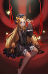 1girl abigail_williams_(fate/grand_order) bangs black_bow black_dress black_footwear black_hat blonde_hair bloomers blue_eyes bow butterfly closed_mouth commentary_request dress eyebrows_visible_through_hair fate/grand_order fate_(series) forehead hair_bow hat head_tilt highres loading_(vkjim0610) long_sleeves looking_at_viewer mary_janes noose orange_bow parted_bangs polka_dot polka_dot_bow revision shoes single_shoe sleeves_past_wrists solo stuffed_animal stuffed_toy teddy_bear underwear white_bloomers