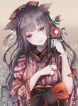 1girl animal_ears blue_eyes bow bracelet bug butterfly camellia cat_ears closed_mouth commentary expressionless facial_mark final_fantasy final_fantasy_xiv flower hair_bow hakama head_tilt holding holding_flower insect japanese_clothes jewelry kimono long_hair long_sleeves looking_at_viewer meiji_schoolgirl_uniform miqo'te red_flower sakura_mochiko solo upper_body wide_sleeves