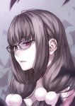 1girl bespectacled brown_hair ears_visible_through_hair eyebrows_visible_through_hair fate/grand_order fate_(series) glasses grey_background highres long_hair looking_away osakabe-hime_(fate/grand_order) parted_lips pom_pom_(clothes) puyo red_eyes solo