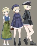 1girl age_progression alternate_costume ankle_boots apron arms_behind_back blonde_hair blue_eyes blush boots cabbie_hat dirndl dress erica_hartmann german_clothes grey_background happy hat head_tilt head_wreath jacket leather leather_jacket looking_at_viewer looking_back military military_uniform morita_(mmmoritannn) multicolored_hair open_mouth peaked_cap pleated_skirt school_uniform short_hair skirt smile strike_witches traditional_clothes uniform waist_apron world_witches_series younger
