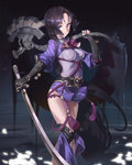 1girl :> alternate_hairstyle axe breasts dual_wielding fate/grand_order fate_(series) fingerless_gloves gauntlets gloves highres holding holding_sword holding_weapon impossible_clothes katana long_hair minamoto_no_raikou_(fate/grand_order) oversized_object purple_eyes rabbit_(tukenitian) short_hair solo sword tassel very_long_hair weapon younger