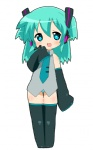 1girl alternate_hair_length alternate_hairstyle aqua_eyes aqua_hair bad_id blush child detached_sleeves hatsune_miku headphones headset necktie no_pants panties saliva short_hair simple_background smile solo striped striped_panties symbol-shaped_pupils thighhighs twintails underwear vocaloid youri19