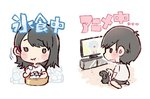 2girls :d :t akb48 bangs black_eyes black_hair bucket chibi dog eating holding ice ice_cube long_hair mole mole_under_mouth multiple_girls murayama_yuiri o_o okada_nana open_mouth poodle re:zero_kara_hajimeru_isekai_seikatsu real_life real_life_insert rem_(re:zero) shirt short_hair short_sleeves sitting smile taneda_yuuta television wariza watching_television wavy_mouth white_background white_shirt