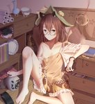 1girl animal_ear_fluff animal_ears asymmetrical_wings bangle bangs bare_shoulders barefoot bell bloomers blue_wings book bow bracelet brown_eyes brown_hair brown_shirt brown_skirt collarbone commentary_request drawer eyebrows_visible_through_hair flat_chest frilled_sleeves frills futatsuiwa_mamizou glasses green_hat hair_between_eyes hakutaku hat hat_bell hat_bow highres houjuu_nue indoors jar jewelry jingle_bell kiseru knee_up looking_at_viewer miniskirt minuo off_shoulder pipe raccoon_ears raccoon_tail red_bow red_wings round_eyewear scroll shadow shirt short_hair short_sleeves sitting skirt solo stuffed_animal stuffed_raccoon stuffed_toy tail thighs touhou translation_request underwear white_bloomers wind_chime wings wooden_floor yellow-framed_eyewear yellow_bow