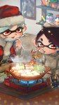 +_+ 2girls :d aori_(splatoon) belt_buckle black_belt black_hair bowl buckle cabbage chopsticks controller cooking cousins cup domino_mask drinking drinking_glass earrings face_mask fire food grey_sweater hat highres holding hotaru_(splatoon) indoors inkling_(language) jar jewelry kashu_(hizake) kotatsu long_sleeves looking_away looking_down mask mask_pull mole mole_under_eye monster_girl multiple_girls nabe open_mouth photo_(object) plant pointy_ears portable_stove potted_plant red_eyes remote_control santa_costume santa_hat shelf short_eyebrows short_hair shrimp shrimp_tempura silver_hair smile splatoon splatoon_1 spring_onion steam table tempura tentacle_hair tofu