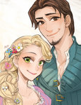 1boy 1girl ano_(sbee) artist_name beard blonde_hair braid brown_eyes brown_hair couple disney dress eyebrows_visible_through_hair facial_hair flower flynn_rider green_eyes happy height_difference hetero long_hair looking_at_viewer purple_dress rapunzel_(disney) shirt short_hair simple_background smile very_long_hair waistcoat white_background white_shirt
